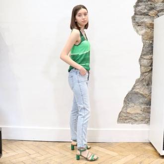 🌴 Look Of Summer 🌴  Top @majesticfilatures  Jean @diesel  Sandales à talons @suncooparis   Articles disponibles sur norte site maxluna.fr  @___.ninaa._  #summer #majesticfilatures #diesel #suncooparis #maxlunagrenoble #fashion #green #lookofsummer